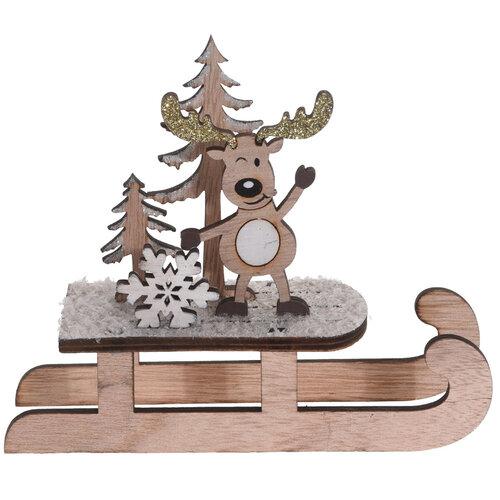 Vánoční dřevěná dekorace Sleigh with Snowflake, 14 cm
