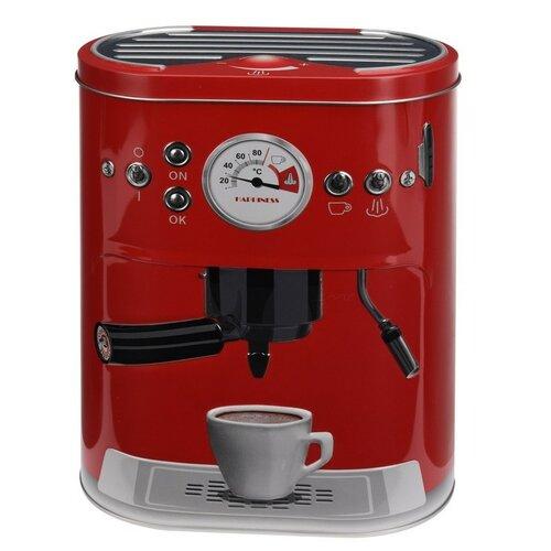 Plechová dóza s motivem kávovaru červená