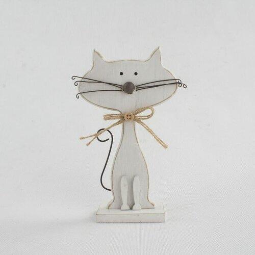 Dekorativní dřevěná kočka bílá, 25 cm