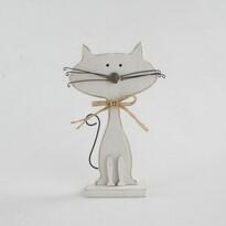 Pisică decorativă din lemn, albă, 25 cm
