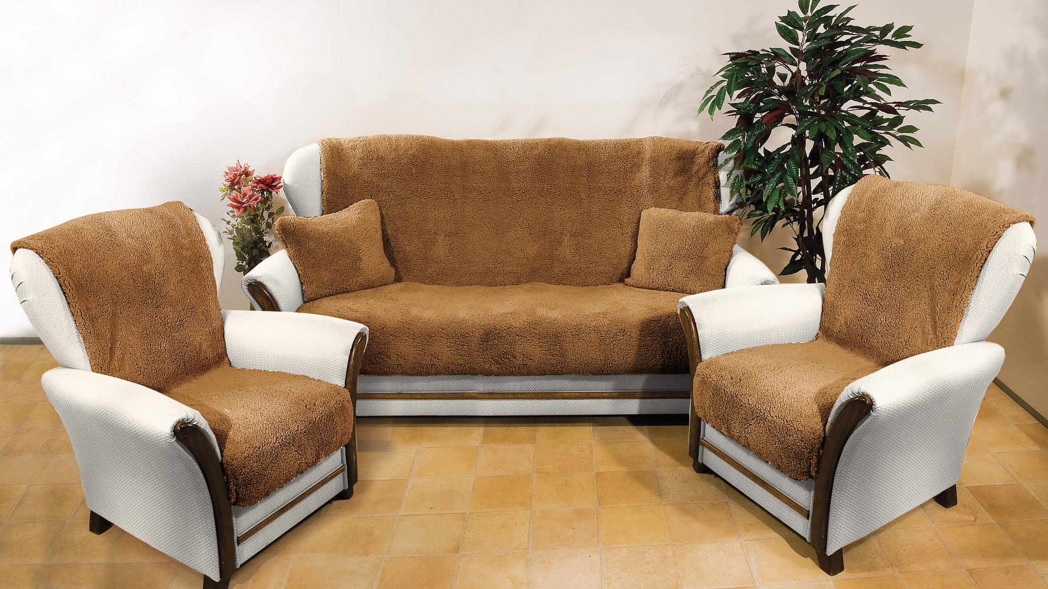 Zľava  4Home Prehozy na sedaciu súpravu Baránok tmavohnedá, 150 x 200 cm, 2 ks 65 x 150 cm